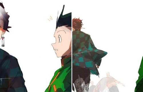 仍是少年的小傑看著已完結漫畫的背影,網友:鬼滅配站在一起嗎?